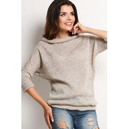 Beżowy Melanżowy Sweter z Golfem