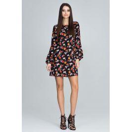 Casualowa Sukienka z Bufiastym Rękawem z Barwnym Wzorem  - Wzór 82