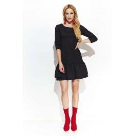 Czarna Trapezowa Sukienka z Falbankami