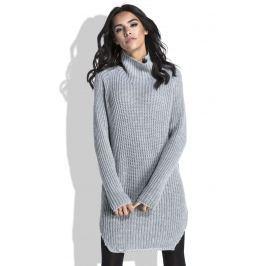 Szary Sweter-Tunika z Półgolfem