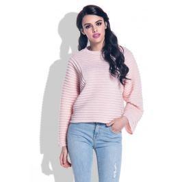 Pudrowy Sweter ze Strukturalnym Splotem z Szerokim Rękawem