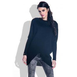 Czarny Sweter o Luźnym Fasonie z Kopertowym Dołem