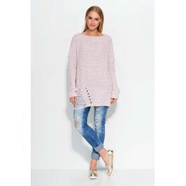 Różowy Sweter Luźny Długi w Łódkę