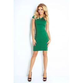 Zielona Sukienka Klasyczna Dopasowana z Zakładkami