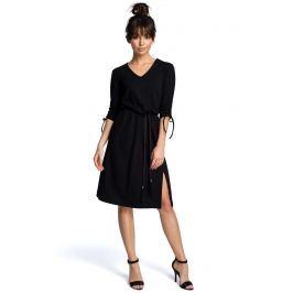 Czarna Sukienka Boho z Rozszerzanym Dołem ze Sznurkowym Paskiem