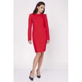 Czerwona Dopasowana Sukienka z Rękawem Typu Cold Shoulder