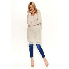 Beżowy Sweter Tunika z Koronkową Wypustką