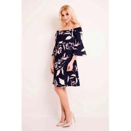 Granatowa Sukienka Wzorzysta w Hiszpańskim Stylu