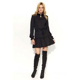 Czarna Sukienka z Falbankami Wiązana w Tali
