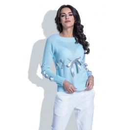 Błękitny Klasyczny Sweter z Ozdobnymi Kokardkami