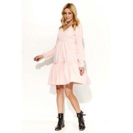 Pudrowa Sukienka Oversize z Falbankami