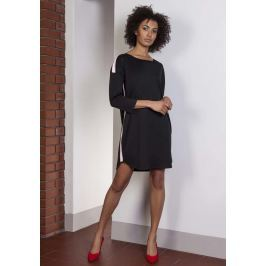 Czarna Luźna Sportowa Mini Sukienka z Lampasami