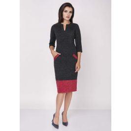 Czarno czerwona Dopasowana Sukienka z Kontrastowymi Detalami
