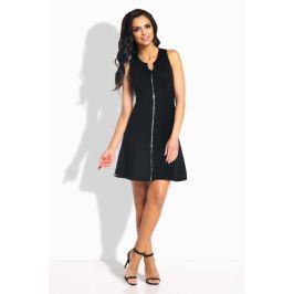 Czarna Sukienka Rozkloszowana bez Rękawów z Suwakiem