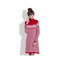 Czerwono Biała Sukienka Żakardowa w Skandynawskie Wzory