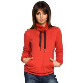 Czerwona Bluza z Wysokim Kołnierzem