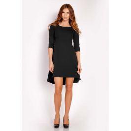 Czarna Sukienka z Dłuższym Tyłem w Kontrafałdy