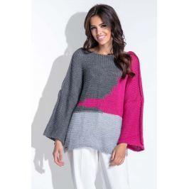 Trójkolorowy Amarantowy Sweter Damski Typu Nietoperz
