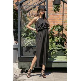 Czarna Długa Sukienka z Wiązanym Dekoltem z Falbankami