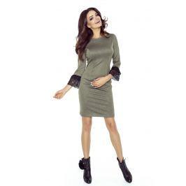 Khaki Sukienka Ołówkowa z Koronkowymi Falbankami przy Rękawach
