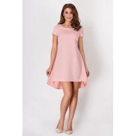 Różowa Letnia Kloszowana Sukienka z Dłuższym Tyłem w Kontrafałdy