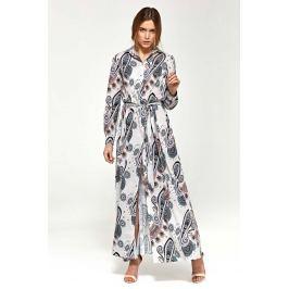 Wzorzysta Koszulowa Sukienka Maxi z Długim Rękawem