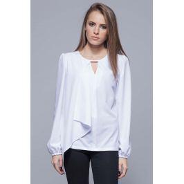 Biała Elegancka Wizytowa Bluzka z Asymetryczną Falbanką