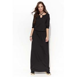 Czarna Długa Sukienka z Wiązaniem na Szyji