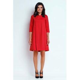 Czerwona Wizytowa Sukienka o Linii A z Zakładką