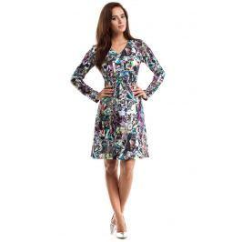 Sukienka Trapezowa z Dekoltem V z Kolorową Grafiką Geometryczną