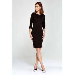 Czarna Sukienka Ołówkowa z Asymetrycznym Drapowaniem