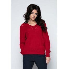 czerwony Sweter Krótki Oversizowy z Dekoltem V