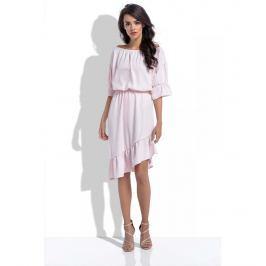 Pudrowa Asymetryczna Sukienka Hiszpanka z Rękawami do Łokcia