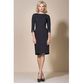 Czarna Klasyczna Sukienka z Lamówkami