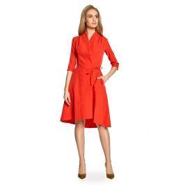 Czerwona Sukienka Trapezowa z Dekoltem na Zakładkę
