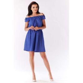 Niebieska Sukienka Koktajlowa Mini z Dekoltem Carmen