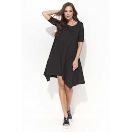Czarna Trapezowa Sukienka z Wydłużonymi Bokami