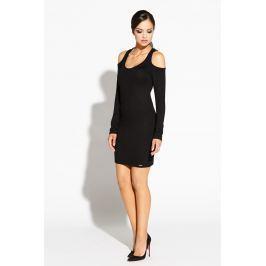 Czarna Ołówkowa Sukienka z Wyciętymi Ramionami