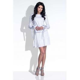 Biała Sukienka z Falbanką i Kokardkami