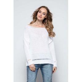 Biały Milutki Sweter z Ażurowymi Wstawkami