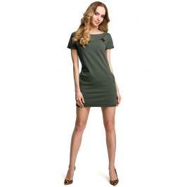 Zielona Dopasowana Mini Sukienka z Ozdobną Naszywką