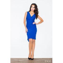 Niebieska Asymetryczna Sukienka Modnie Marszczona