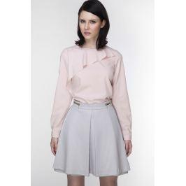 Elegancka Różowa Bluzka z Asymetryczną Falbanką przy Dekolcie