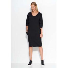 Czarna Sukienka Dzianinowa Midi z Wsuwanymi Kieszeniami