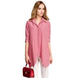 Asymetryczna Luźna Koszula w Czerwoną Drobną Kratkę
