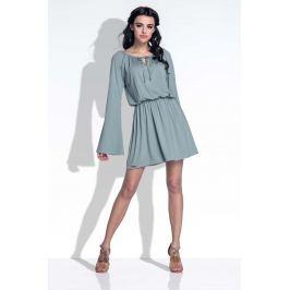 Oliwkowa Sukienka z Rozkloszowanymi Rękawami
