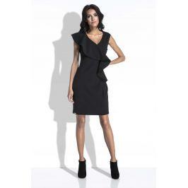 Czarna Sukienka bez Rękawów z Asymetryczną Falbanką