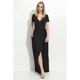 Czarna Sukienka Letnia Maxi na Zakładkę