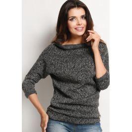 Grafitowy Melanżowy Sweter z Golfem