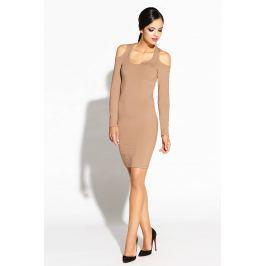Kamelowa Ołówkowa Sukienka z Wyciętymi Ramionami